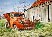 Rusty Truck Paintings - Old Farm Truck by Rick Mock