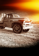 Explosion  Prints - Old farm truck with explosion at night Print by Edward Fielding