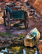 Old Wooden Wagon Prints - Old Fashion Cart And Boat  Print by Lee Dos Santos