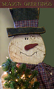 Snowy Holiday Card Posters - Old Fashion Snowman Card Poster by Debra     Vatalaro