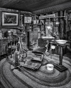 America Photos - Old Fashioned Dentist Office BW by Susan Candelario