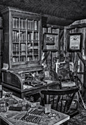 Physician Art - Old Fashioned Doctors Office BW by Susan Candelario