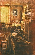 Impressionism Mixed Media Framed Prints - Old Fashioned Kitchen Again Framed Print by Kendall Kessler