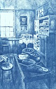 Color Lithographs Drawings Acrylic Prints - Old Fashioned Kitchen in Blue Acrylic Print by Kendall Kessler