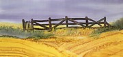 Grass Tapestries - Textiles Metal Prints - Old Fence Metal Print by Carolyn Doe