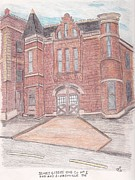 Nashville Drawings Prints - Old Firehouse 2nd Ave Nashville Print by Christa Cruikshank
