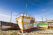 Editorial Photo Framed Prints - Old Fishing Boats Camaret-Sur-Mer Brittany France Framed Print by Colin and Linda McKie