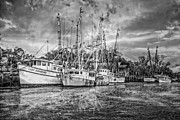 Piers Framed Prints - Old Fishing Boats Framed Print by Debra and Dave Vanderlaan
