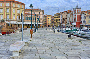 Cobblestone Paintings - Old Fishing Village of Rovinj by Sheldon Kralstein