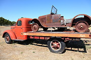 Old Trucks Photos - Old Flatbed Truck Towing The Old Jalopy 5D23974 by Wingsdomain Art and Photography