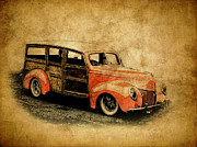Ford Lowrider Posters - Old Ford Woody Poster by Steve McKinzie