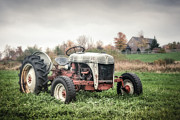 Gary Heller Acrylic Prints - Old FordTractor and farm house Acrylic Print by Gary Heller
