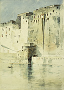Base Paintings - Old Fortress Naples by Childe Hassam