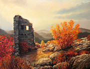 Clouds Sunset Painting Prints - Old Fortress Ruins Print by Kiril Stanchev