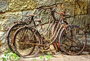 Antiques Prints - Old French Bicycles Print by Debra and Dave Vanderlaan