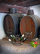 French Wine Bottles Prints - Old French Wine Casks Print by Dave Mills