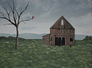 Old Barns Paintings - Old Friends by Candace Shockley