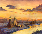 Native-american Prints - Old Friends New Stories Print by Jeff Brimley