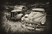 Rusted Cars Framed Prints - Old Friends Framed Print by Rebecca Skinner