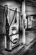 Old Building Framed Prints - Old Fuel Pump - Black and White 2 Framed Print by Kaye Menner
