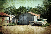 Netting Posters - Old garage and car in Seligman Poster by RicardMN Photography