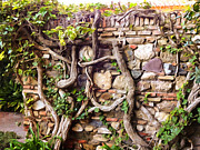 Old Mixed Media Metal Prints - Old Garden Wall Metal Print by Lutz Baar