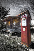 Old Cabins Photo Posters - Old Gas Pump Poster by Debra and Dave Vanderlaan