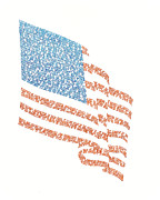 Word Drawings - Old Glory by Bethany Martin