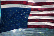 Distress Mixed Media Posters - Old Glory in Distress Poster by Beverly Guilliams