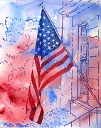 Front Porch Mixed Media Framed Prints - Old Glory in the Neighborhood Framed Print by Peter Plant