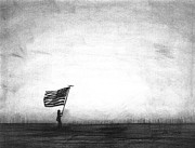 Walking Drawings Prints - Old Glory Print by J Ferwerda