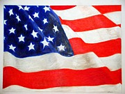 Star Spangled Banner Drawings - Old Glory by Kendrick Roy