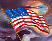 Abstract American Flag Paintings - Old Glory by To-Tam Gerwe