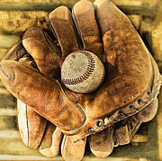Abstract Baseball Prints - Old Gloves Print by Ron Regalado