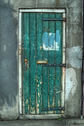 Green Door Prints - Old Green Door in Quarter Print by Brenda Bryant