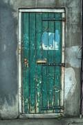 Old Green Door In Quarter Print by Brenda Bryant