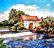 Old Mills Framed Prints - Old Grist Mill Clinton Nj Framed Print by Annie Zeno
