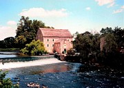 Old Mills Framed Prints - Old Grist Mill in Clinton NJ Framed Print by Annie Zeno