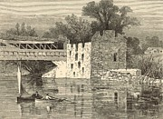 Covered Bridge Drawings Posters - Old Grist-Mill of the Revolution 1872 Engraving by John Karst Poster by Antique Engravings