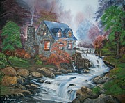 Waterfalls Paintings - Old Grist Mill by Sharon Duguay