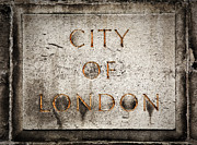 Signpost Posters - Old grunge stone board with City of London text Poster by Michal Bednarek