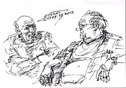 Men Talking Drawings - Old Guys  by Ylli Haruni