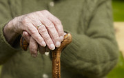Alt Originals - Old Hands Of A Senior On Walking Stick by Juergen Ritterbach