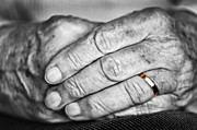 Elderly Hands Prints - Old hands with wedding band Print by Elena Elisseeva