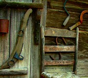 Cabin Wall Metal Prints - Old Hanging Ladderback Metal Print by Julie Dant