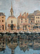 Charming Town Paintings - Old Harbor at Honfleur by Patton Hunter