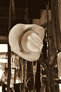 Ranch Pyrography Prints - Old Hat Print by Juan Gabriel Maldonado