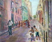 Light And Dark   Paintings - Old Havana Street Life - SALE - Large Scenic Cityscape Painting by Quin Sweetman