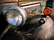 Rusted Cars Posters - Old Headlights Poster by Colleen Kammerer