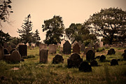 Headstones Framed Prints - Old Hill Burying Ground Framed Print by K Hines